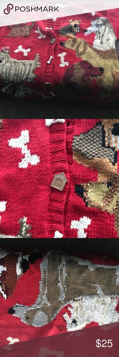 Cardigan Sweater Dog Lovers...Red button up cardigan with dogs. Buttons are dog bone and dog houses. Dog picture on back of sweater. NEVER worn! Design Options Sweaters Cardigans