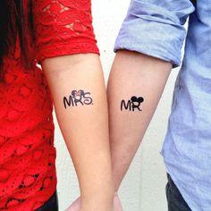 tattoo ideen für pärchen mr-mrs-mickey-mouse-minnie-ehepaar