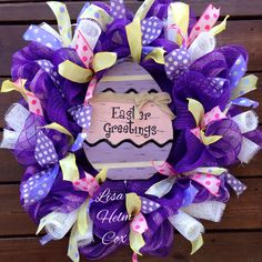 Purple mesh Easter egg deco mesh wreath