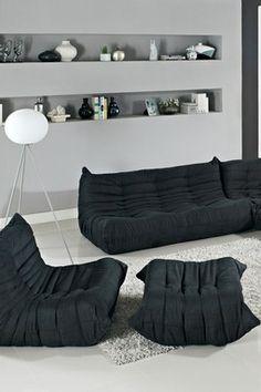 Waverunner 5 Piece Modular Sectional Sofa Set - Black