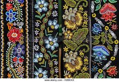 Belts for women embroidered traditional with Romanian patterns from Bistrita Nasaud area. Belts For Women, Beaded Embroidery, Traditional Outfits, Embellishments, Ethnic, Stock Photos, Costumes, Beads, Cami