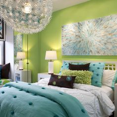 Kid's room - Love the wall color and the overhead light. Just sparkly throw pillows in place of the brown and different artwork. (And different bedding in the same blue and green tones)