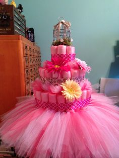 Tulle Diaper Cake for my sister's baby shower.   Welcome Adalyn Grace Warford!