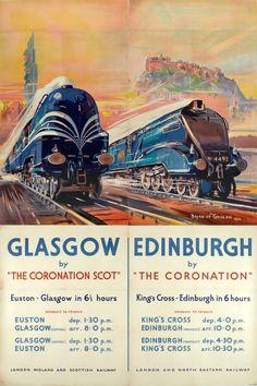 Vintage Rail travel railway poster RE PRINT London to Glasgow and Edinburgh Train Posters, Railway Posters, Train Art, By Train, Vintage Advertisements, Vintage Ads, Vintage London, Vintage Metal, Glasgow