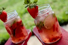 strawberry-lime mojitos..I need to try one of these this summer.