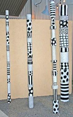 Sally Russel Art Studio - Black and White Totem Medley Spirit Sticks, Ceramic Painting, Ceramic Art, Ceramic Bowls, Garden Totems, Garden Art, Garden Whimsy, Garden Junk, Garden Sheds