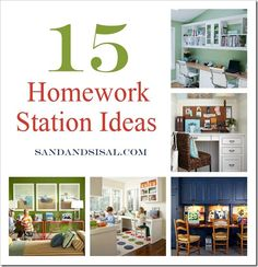 "Homework Station Ideas, via @Kim Wilson {Sand & Sisal} Now that I have 2 boys in school, some of these ideas work in our ""loft"" or office"