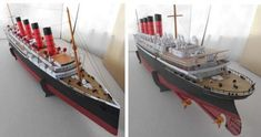 RMS Mauretania Ocean Liner Paper Model In 1/250 Scale - by Sharunas Viikas  - == - This perfect paper version in 1/250 scale of the RMS Mauretania Ocean Liner was created by Lithuanian designer Sharunas Viikas. RMS Mauretania was an ocean liner of the British Cunard Line, launched in 1907. After capturing the Blue Ribbon for the fastest transatlantic crossing during her 1909 inaugural season, Mauretania held the speed record for twenty years!
