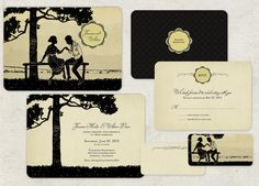 100 Custom Vintage Save the Dates or Vintage Wedding Invitations Silhouette Couple on Bench.