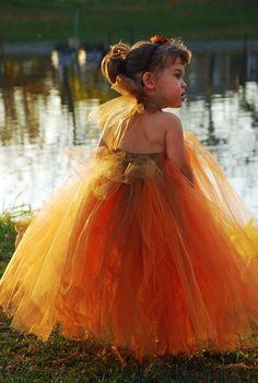 Burnt Orange Tutu Dress For Flowergirl!  Def. doing a TUTU flower girl, maybe a little less tutu, she looks like a f-ing pumpkin