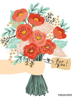 Beautiful bouquet of flowers Beautiful Bouquet Of Flowers, Gift Flowers, Illustration Blume, Happy Birthday Greetings, Floral Illustrations, Doodles, Artsy, Greeting Cards, Drawings