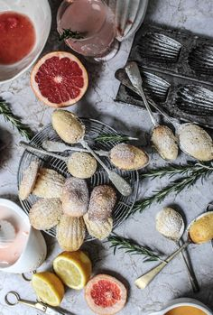 Pink Grapefruit and Rosemary Madeleines