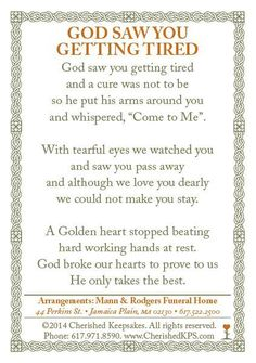 Funeral / Memorial Prayer Card Back Funeral Prayers, Funeral Quotes, Funeral Cards, Funeral Poems For Mom, Prayer Cards For Funeral, Funeral Poems For Grandma, Memorial Cards, Funeral Memorial, Memorial Poems
