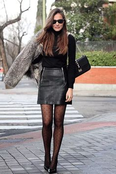 stylish combinations for special occasions - DamenMode - Jupe Look Fashion, Skirt Fashion, Fashion Outfits, Fashion Ideas, Jackets Fashion, Fashion Tights, Fur Fashion, Fashion Black, Fashion 2018