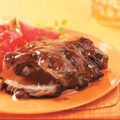 """Secret's in the Sauce"""" BBQ Ribs Recipe      Read reviews (48)    Rate recipe    A sweet, rich sauce makes these ribs so tender that the meat literally falls off the bones. And the aroma is wonderful. Yum! —Tanya Reid, Winston-Salem, North Carolina    This recipe is:    Contest Winning  48"""