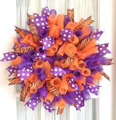 CLEMSON Tigers Deco Mesh Dorm Tailgating Wreath Orange Purple. $47.00, via Etsy.