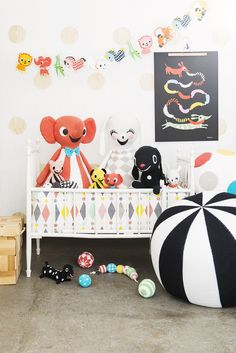 Black white and colors in kids room...love it!