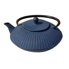 Tetsubin Teapot Dark Blue Cast Iron Unique style $25.95
