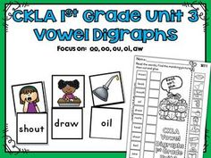 Vowel Digraph Match Activity CKLA 1st Grade Skills Unit 3This activity is great for stations and workshops. The specific vowel digraph spelling patterns in this activity come from the CKLA 1st Grade Skills Unit 3. Vowel Digraphs: oo, oo, ou, oi, aw..Includes 50 different vowel digraph words and pictures to use as a matching activity.Includes 5 different cut and paste worksheet pages to reinforce vowel digraphs.