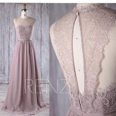 2017 Rose Gray Chiffon Lace Bridesmaid Dress Key Hole Back
