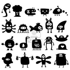 Collection of cartoon funny monsters silhouettes Stock Photo... For the windows