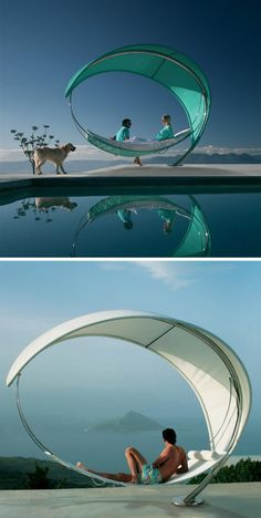 12 Outdoor Furniture Designs That Add A Sculptural Element To Your Backyard // Slowly rock in the wind and enjoy the view with this standalone hammock that looks more like a piece or art than a chair.