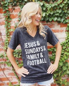 Jesus & Sundays & Family & Football Available in S-XXL Unisex Sizing Black Acid Wash V-Neck Tee Perfect for football season!