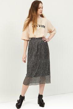 Shine Gold Skirt  >>Discover the latest fashion trends online at storets.com #shineblack #goldskirt #shineskirt