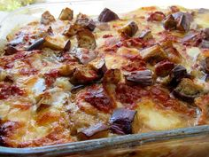 Greek Recipes, Hawaiian Pizza, Pepperoni, Eggplant, Recipies, Food And Drink, Cooking Recipes, Vegetables, Kitchen