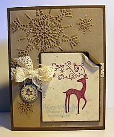 Gold Embossed Dasher Card...with rolled edges & lace bow.