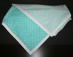 Aqua, White, and Gray Baby Blanket Made with Snuggle Flannel Fabric - Double Sided by ZamiStudio on Etsy