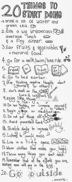 Love this list of 20 things to start doing! Let's do it! :) happiness habits #happy #positivity