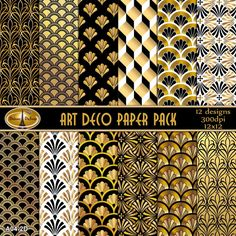 12 Art Deco Paper Digital Backgrounds 12 x 12 Art by DetourDuJour