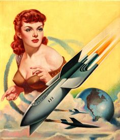 Epitome of Sci-fi/Space-age. Science fiction illustration by Earle Bergey for Startling Stories, May 1951.