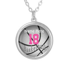 Silver Basketball Necklace with Number and Name