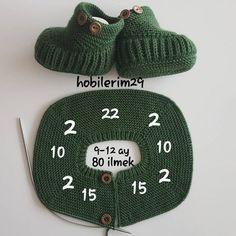 Tatlı mı Tatlı Örgü Bebek Takımı Sayıları ve Yapımı Baby Knitting Patterns, Baby Booties Knitting Pattern, Crochet Baby Shoes, Crochet Baby Booties, Baby Pullover, Baby Cardigan, Diy Crafts Images, Easy Hobbies, Pull Bebe