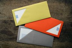 set of envelopes with triangle cut outs i can't help it stuff like this makes me drool