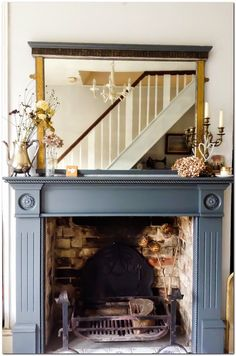 Terrific Images vintage Fireplace Mantels Style Farrow and ball Downpipe painted fire surround by Emma Connolly Designs. Painted Fireplace Mantels, Grey Fireplace, Paint Fireplace, Small Fireplace, Fireplace Remodel, Fireplace Surrounds, Fireplace Mirror, Mantles, Fireplace Ideas