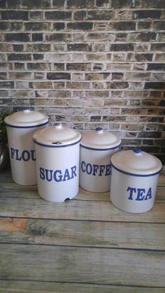 Check out this item in my Etsy shop https://www.etsy.com/listing/385593928/enamel-canister-set-vintage-white-and