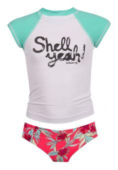 Billabong Girls Shell Ya! Short Sleeve Rashguard Swimsuit Set