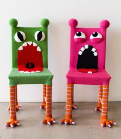 Whimsical Monster Chair Colorful Kids Furniture by KnitsForLife Chaise Diy, Chaise Ikea, Ikea Chair, Funky Painted Furniture, Cheap Furniture, Kids Furniture, Colorful Furniture, Weird Furniture, Discount Furniture