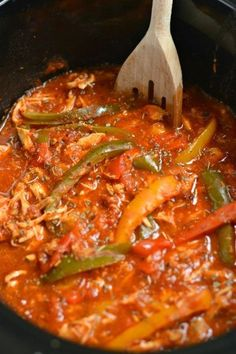 This Crockpot Italian Chicken and Peppers is a healthy dinner that's easy and customizable. A weeknight dinner recipe the whole family will love!