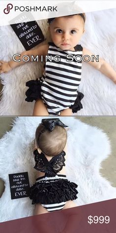 💕COMING SOON💕 Brand New! Absolutely adorable piece. Includes Romper and Headband. Material Cotton blend and spandex. Ships same day if ordered by 3pm CST.                           ✨Bundle & Save✨               💟Boutique items may or may not have tags but shipped New from supplier.      💟Size chart are approximate measurements.  💟Please ask any questions you may have before purchasing One Pieces Bodysuits