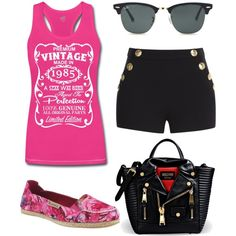 Heather in pink! by bearpawstyle on Polyvore featuring polyvore fashion style Boutique Moschino Bearpaw Moschino Ray-Ban