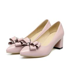 62b67d75acc Womens Bowknot Mid Block Heel Solid Color Slip On Pumps Pointed Toe Shoes  Size 8 Cordial