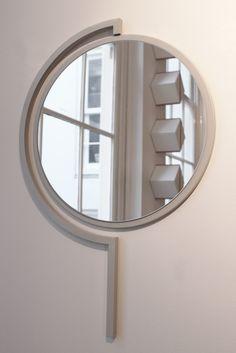 Contorno mirror By Studio Jolanda van Goor 2016. Powder coated Silk Grey steel with a Silver mirror