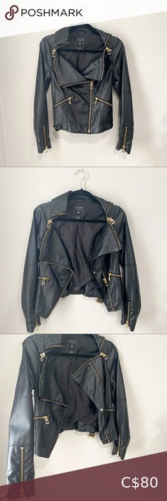 Guess Gold Zippered Black Leather Jacket Leather jacket with gold zippered detailing Hits above the waist Buckles at the waist Barely worn, excellent condition Guess Jackets & Coats Leather Jackets Cropped Leather Jacket, Vegan Leather Jacket, Faux Leather Jackets, Gymshark Flex Leggings, Shearling Coat, Black Faux Leather, Coats, Gold
