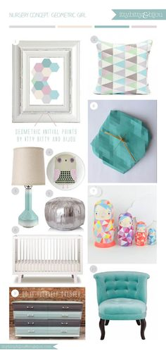 Trendy geometric themed girl's nursery room decor with a pastel colour palette - by Itty Bitty & Bijou