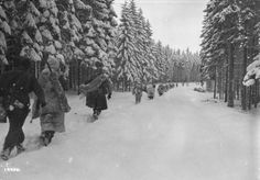 The 504th Parachute Infantry advancing to another assembly point prior to an assault on German positions near Heersbach during the final days of the Battle of the Bulge in January 1945. The 504th saw near-continuous action for almost five months following the devastating battle of Cheneux.