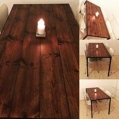 Har bygget et lille bord i samarbejde med qsmedjen. Nøddetræsbejdsede fyrreplanker i smedejerns ramme. #skideflot #bord #snedker #wood #gulvbrædder #bejdse #smedejernsben #plankebord  stel fra #kvindesmedjen